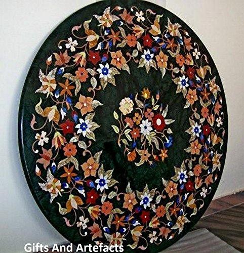 Gifts And Artefacts 106,7cm rund grün marmor Multi Farbe Stein Inlay Luxus Muster, Terrasse Esstisch Top