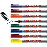 edding 361 whiteboardmarker set - diverse kleuren - 8 whiteboardstiften - ronde punt 1 mm - boardmarker uitwisbaar - voor whi