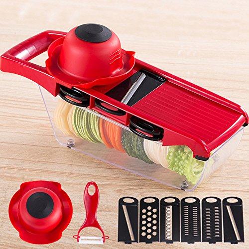 Wuudi Multifunktions-Küchenschneider, Fein bis dickes Schneiden und Julienne-Einstellungen, verstellbare für Obst, Gemüse, Kartoffeln, Zwiebeln, Rettich