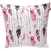 "TryPinky Kissenbezug 40 X 40 cm"" Federn auf Weiß"" Pink Rosa Sommer Frühling Kissenhülle 100 & Baumwolle BW"