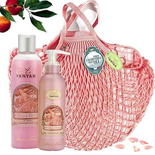Un Air d\'Antan Beauty Pflege Geschenkset Rose in Einer Tasche FILT - Parfum: Rose, Pfirsich Patschuli. Enthält 1 Duschgel 250ml und 1 Bodylotion 200ml, Geschenk für Geburstag, Frauen