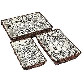Juvale Plateaux de rangement en tissu – 3 pièces – Paniers de rangement – Doublés – Pour étagères, cuisine, salle de…