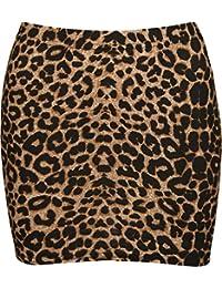 WearAll - Mujeres Stretch Bodycon Leopardo Impreso Mini Animales Falda