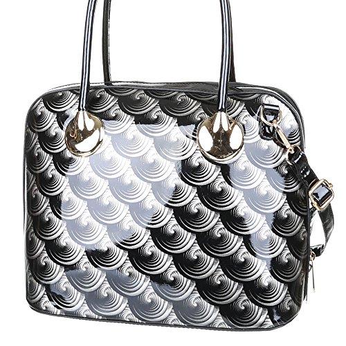 Damen Tasche, Mittelgroße Schultertasche Lacktasche, Kunstleder, TA-A1049 Schwarz