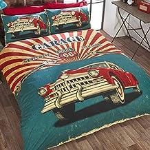 Just Contempo-Parure copripiumino reversibile, stile Vintage classico, in policotone, motivo: bandiera USA, colore: Rosso / Blu / Nero / Panna