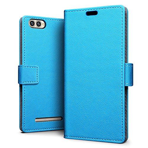 SLEO Doogee X30 Hülle, Leder Case PU Ledertasche Magnet [Vollständigen Schutz] Flip Case mit Standfunktion Kartenfächer im Bookstyle für Doogee X30 - Blau