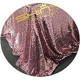 ShinyBeauty Pailletten-Stoff Meterware 53#Pink Gold 4 Meter
