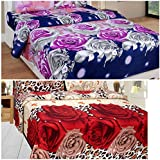 Sky Tex Super Saver Combo Of 2 Multi Color Poly Cotton 3D 140 TC Queen Size Double Bed Sheets With 4 Pillow Covers