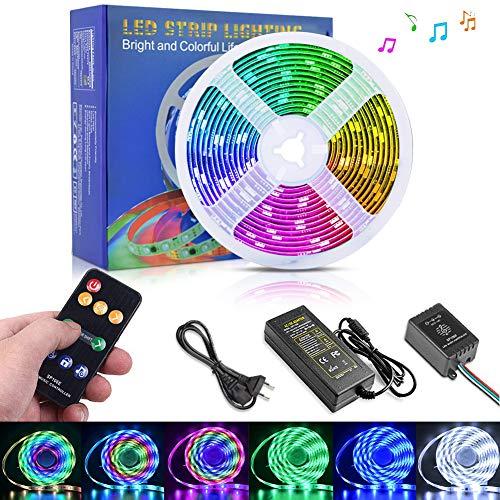 Opard LED Strip 5m Musik, RGB LED Streifen von SMD 5050 mit RF 9 Tasten Fernbedienung, DreamColor per Musik, wasserdichte IP65 LED Kette mit Netzteil für Party, Regenbogenfarbe -