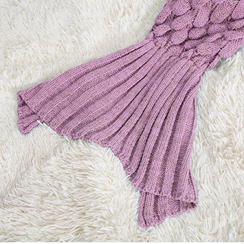 KekeHouse® Automne Hiver Mermaid Blanket De Laine Tricot Blanket Couverture Pour Adult Rose