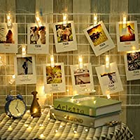 LED Photo Clip String Lights 20 Photo Clips Battery Powered Fairy Twinkle Lights, Wedding Party Home Dorm Bedroom Christmas Decor Lights for Hanging Photos, Cards and Artwork (10.5 Feet, Warm White)
