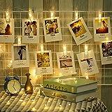 LED Foto Clip Lichterketten,20 Fotoclips Batteriebetriebene Stimmungsbeleuchtung Hochzeit Party Schlafzimmer Weihnachten Dekor Lichter zum Aufhängen von Foto Karten Kunstwerke - 3.2M warmweiß