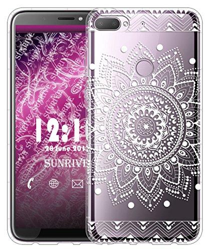 Sunrive Für HTC Desire 12+ Hülle Silikon, Transparent Handyhülle Luftkissen Schutzhülle Etui Case für HTC Desire 12+(TPU Blume Weiße)+Gratis Universal Eingabestift
