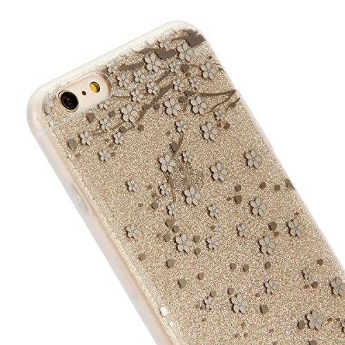 Cover iPhone 6S Plus,Cover iPhone 6 Plus, ikasus® iPhone 6S Plus / 6 Plus Case Custodia Cover [Hard PC + TPU] Protettiva Trasparente con il modello che scorre copertura dura di plastica trasparente Cu oro pallido prugna Fiore
