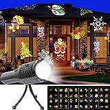 Projecteur de Lumière Noël, UNIFUN 12pcs Motifs Lampe de Poche Projecteur Éclairage de Noël Extérieur Décoration pour Noël Halloween Fête Vacances Anniversaire