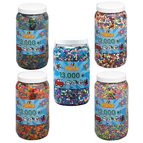 Sammlung Bügel (Hama Bügelperlen MIDI 5x 13.000 Bügelperlen (65.000 Perlen) 211-00 211-50 211-51 211-54 211-69 Vollton + Pastell + Neon + Glitter + Bunt & Opak)