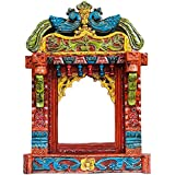 SAARTHI Decorative Wooden Rajasthani Jharokha/photoframe With Antique Finish For Wall Decor,Home Decor,Gifts- Splendid Wooden Carved Peacock (Size - 68 X 48 Cm)