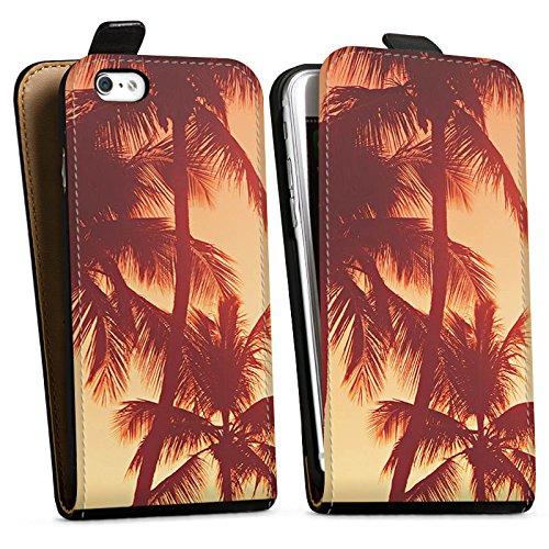 Apple iPhone X Silikon Hülle Case Schutzhülle Palmen Abendrot Urlaub Downflip Tasche schwarz