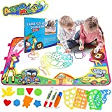Bigear Aqua Magic Doodle Mat, Kids Toys Large Water Drawing Painting Mat Scribble Learning Scribble Boards in 6 Colors with 2 Magic Pens and 1 Brush