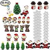 Jettingbuy, set di 48 miniature a tema natalizio per decorazione giardino a tema fatato o casa delle bambole