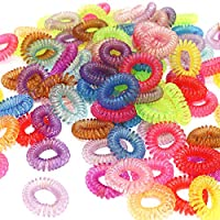Multi Colors Spiral Hair Ties Hair Bobbles Elastic Bands Ponytail Ties Stretchy Coil Girl (10 pieces)