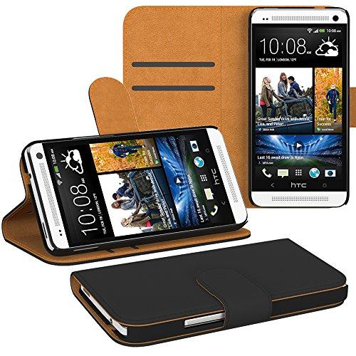 HTC Desire 526G Dual Sim Hülle Bookstyle mit Standfunktion I von EAZY CASE I Book-Style Case aufklappbar, Schutzhülle, Flipcase, Flipstyle, Flipcover mit 2 Kartenfächern aus Kunstleder, Schwarz