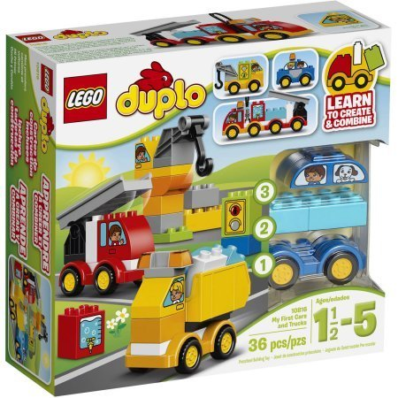 LEGO DUPLO 10816 My First My First Cars and Trucks, Features 3 wheelbases, crane and assorted vehicle-themed decorated bricks to combine and create by LEGO