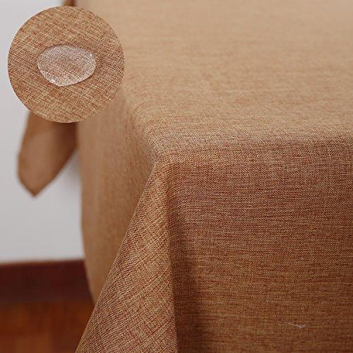 Deconovo Tischdecke Wasserabweisend Tischwäsche Lotuseffekt Tischtuch Leinenoptik 140x240 cm Ockerbraun
