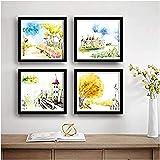 SAF Set of 4 Tower, Flowers, Garden Nature UV Coated Home Decorative Gift Item Framed Painting 19 inch X 19 inch SAF_SET4_2