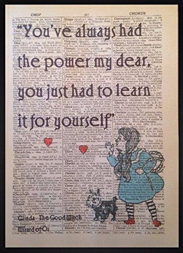 Der Zauberer von Oz Kunstdruck, Motiv: Vintage-Wörterbuch, Dorothy in roten Schuhen, mit englischsprachigem Zitat