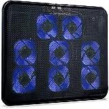 SKGAMES Notebook Laptop Kühler Gamer Kühlpad Ständer Kühlmatte Cooler Cooling Pad Unterlage für 10 - 17 Zoll, 8 x LED Lüfter, 2 x USB-Port, verstellbare Ventilatorgeschwindigkeit, Schwarz