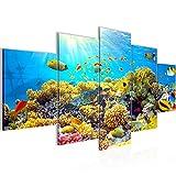 Bilder Unterwasser Korallen Wandbild 200 x 100 cm Vlies - Leinwand Bild XXL Format Wandbilder Wohnzimmer Wohnung Deko Kunstdrucke Blau 5 Teilig - MADE IN GERMANY - Fertig zum Aufhängen 608751a