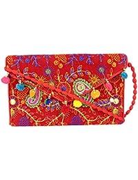 Rajasthani Jaipuri Bohemian Art Sling Bag Foldover Purse - B07FMX6DDG