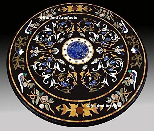 121,9cm schwarz Marmor Multi Farbe Stein eingelegten runde Form Konferenz Tisch Top