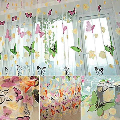 Mkchung balcone filato tenda, reverie farfalle colorate finestre porta tenda a pannello in voile per ragazza bambini camera da letto soggiorno decor (pezzi)