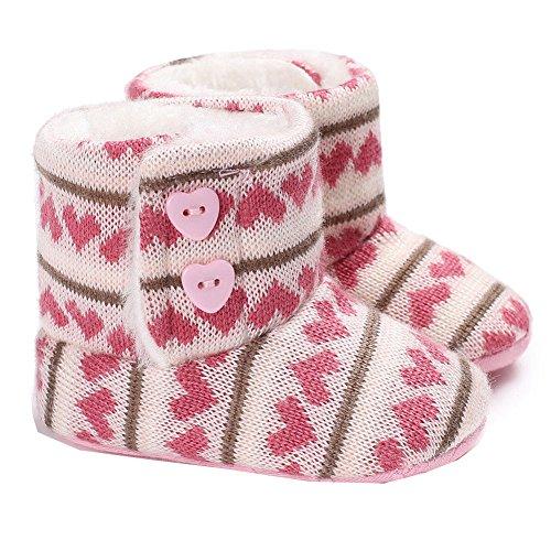 Winter-Baby-Säuglingsjungen-Mädchen Stricken Woolen warme Schnee-Stiefel-Schuhe (6-12 Months, Rosa)