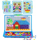 Qchomee Kids Jigsaw Puzzle Board 296 PCS Mushroom Nails Pegboard DIY Assorted Color Mosaic Kit Game Educational Toys Popular Birthday Christmas Toys for Children Girls Boys Age 3-8 years