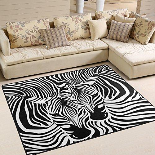 Use7 Alfombra Divertida con Estampado de Cebra y Leopardo para Sala de Estar o Dormitorio, Tela, 203cm x 147.3cm(7 x 5 Feet)