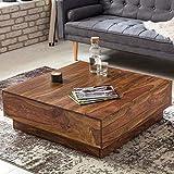 FineBuy Couchtisch CUBE Sheesham Massiv Holz 90 x 90 x 30 cm Dunkel Braun Quadratisch | Design Wohnzimmer Tisch aus Palisander Rosenholz | Sofatisch Niedrig Flach| Stubentisch Modern