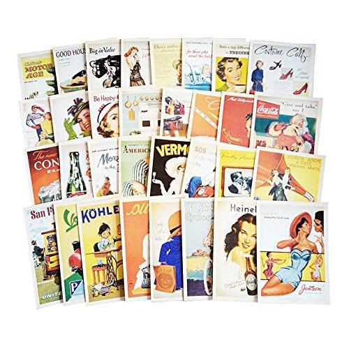 fancyoung 32PCS 1Set Vintage Retro Old Reise Sehenswürdigkeiten Landschaft Postkarte Karten Souvenir Geschenke für Worth sammeln Poster