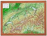Schweiz 1:1.0 MIO mit Rahmen: Reliefkarte Schweiz klein mit Holzrahmen