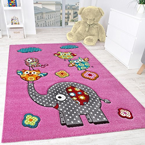 Children's Room Rug Cute, Colourful Animal World -Elephant Andowls Fuchsia Pink , Size:120x170 cm