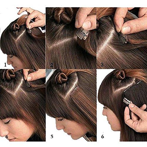 Clip in Extensions Echthaar günstig Haarverlängerung Remy Echthaar 8 Tressen 18 Clips