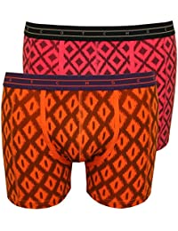 Scotch & Soda 2-Pack Geometric Print Men's Boxer Briefs Gift Set, Orange/Purple