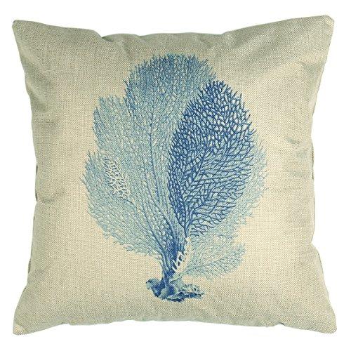 Luxbon Nautical Sea Themed Light BLue Sea Weed Print Cushion Cover Durable Cotton Linen Throw ...