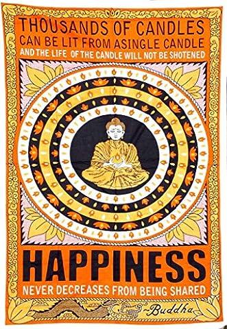 Cotton Hippy Indian Mandala Wall Hanging Bohemian Throw Decor Bedspread Tapestries (Buddha Happiness)