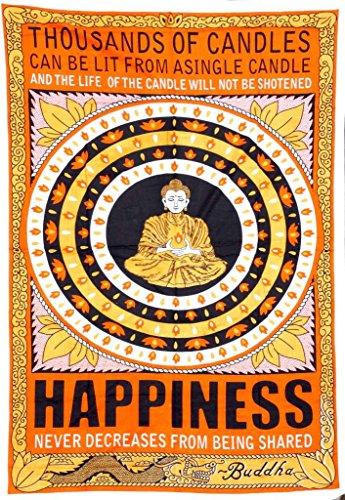 shivansh Creations indischen Wandbehang Baumwolle Boho Tapisserie Größe Décor Überwurf 54213,4cm (Buddha Glück)