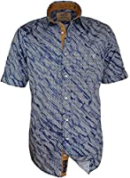 CasaModa - Herren Freizeit Hemd kurzarm, blau weiss, gemustert, Casual-Fit