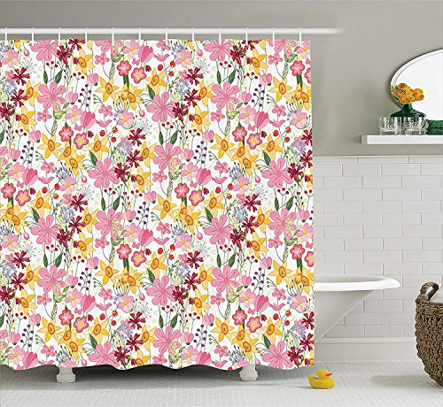 JIEKEIO Daffodil Decor Shower Curtain Set, Mixed Plants and Wildflowers Blooms Pattern Tulips Daffodil Endless Romantic Floral Artprint, Bathroom Accessories, 60 * 72inchs Long, Multi -