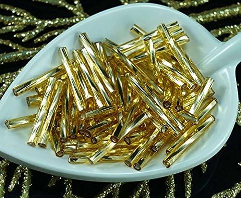 80pcs x 20mm Extra Lange Licht Gold-Silber Ausgekleidet Twisted Runde Tschechische Glas stiftperlen PRECIOSA Rohre